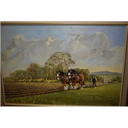 Framed acrylic on board painting of a team of plough horses working the field signed by artist Benne