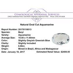 6.88 ct.Natural Oval Cut Aquamarine