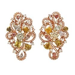 18k Three Tone Gold 5.64CTW Multicolor Dia, Pink Diamond and Diamond Earrings, (