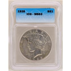 1928 $1 Peace Silver Dollar Coin ICG MS63