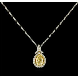 EGL USA Cert 1.28 ctw VS1 Fancy Yellow Diamond Pendant With Chain - Platinum