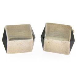 Men's  Antonio Pineda Mexican .970 Silver & Onyx Pyramid Cufflinks Links