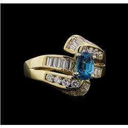 2.17 ctw Blue Zircon and Diamond Ring - 14KT Yellow Gold