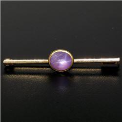 18k Yellow Gold 2.50 ctw Oval Bezel Set Pink Star Sapphire Bar Pin Brooch