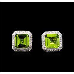 6.67 ctw Peridot and Diamond Earrings - 18KT White Gold