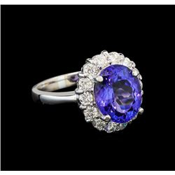 14KT White Gold 3.21 ctw Tanzanite and Diamond Ring