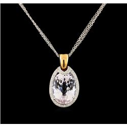 23.02 ctw Kunzite and Diamond Pendant With Chain - 18KT Rose Gold