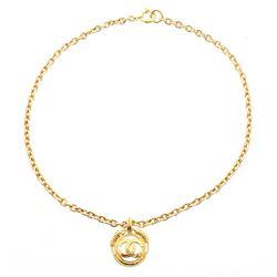 Chanel Gold Chain Link CC Round Drop Pendant Necklace 94P