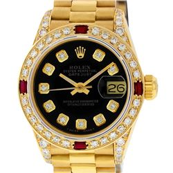 Rolex Ladies 18K Yellow Gold Black Diamond And Ruby President Wristwatch With Ro