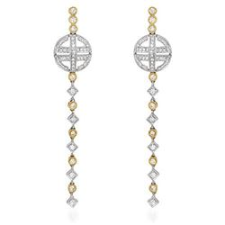 18k Two Tone Gold 1.10CTW Diamond Earrings, (SI2/H-I)