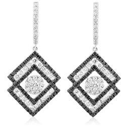18k White Gold 2.25CTW Diamond and Black Diamonds Earrings, (VS1-VS2/G)