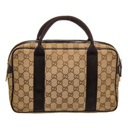 Gucci Brown Beige GG Canvas Leather Mini Suitcase Bag