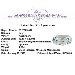 4.00 ct.Natural Oval Cut Aquamarine