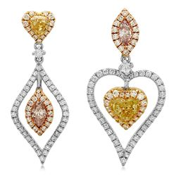 18k Three Tone Gold 1.84CTW Diamond Earrings, (SI2/SI1/Pink/G/Fancy Yellow)