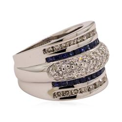 1.40 ctw Sapphire and Diamond Ring - 14KT White Gold