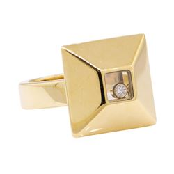 Chopard 0.05 ctw Happy Diamond Square Top Ring - 18KT Yellow Gold