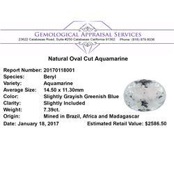 7.39 ct.Natural Oval Cut Aquamarine