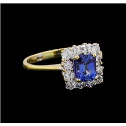 1.00 ctw Sapphire and Diamond Ring - 14KT White Gold