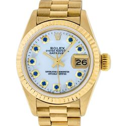 Rolex Ladies 18K Yellow Gold Mother Of Pearl Sapphire Datejust President Wristwa
