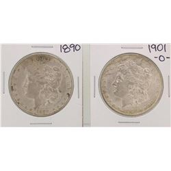 1890 & 1901 $1 Morgan Silver Dollar Coins