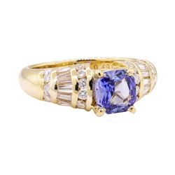 2.15 ctw Blue Sapphire And Diamond Ring - 18KT Yellow Gold