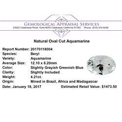 4.21 ct.Natural Oval Cut Aquamarine