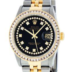 Rolex Mens 2 Tone 14K Black String Princess Cut Diamond Datejust Wristwatch