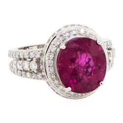 7.49 ctw Rubellite And Diamond Ring - 18KT White Gold