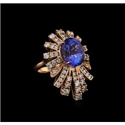 8.16 ctw Tanzanite and Diamond Ring - 14KT Rose Gold