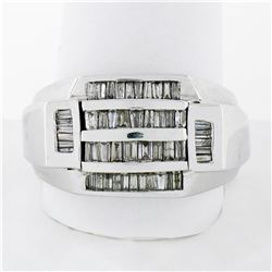 Large Mens 14K White Gold 1.10 ctw Tapered & Straight Baguette Diamond Band Ring