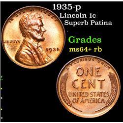 1935-p Superb Patina . Lincoln Cent 1c Grades Choice+ Unc RB