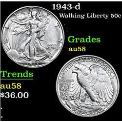1943-d . . Walking Liberty Half Dollar 50c Grades Choice AU/BU Slider