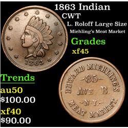 1863 Indian L. Roloff Large Size Miehling's Meat Market Civil War Token 1c Grades xf+