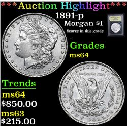 *Auction Highlight* 1891-p Scarce in this grade . Morgan Dollar $1 Graded Choice Unc By USCG (fc)