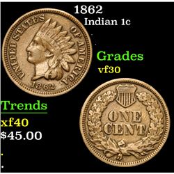 1862 . . Indian Cent 1c Grades vf++