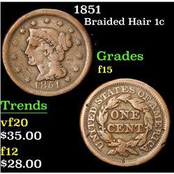 1851 . . Braided Hair Large Cent 1c Grades f+