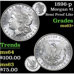 1896-p Semi Proof Like . Morgan Dollar $1 Grades Select+ Unc