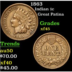 1863 Great Patina . Indian Cent 1c Grades xf+