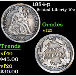1884-p . . Seated Liberty Dime 10c Grades vf+