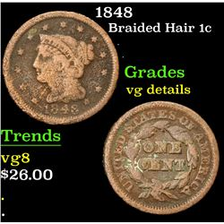 1848 . . Braided Hair Large Cent 1c Grades vg details