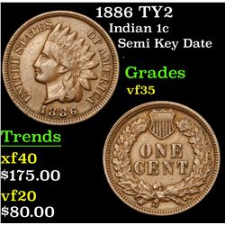 1886 TY2 Semi Key Date . Indian Cent 1c Grades vf++