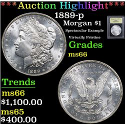 *Auction Highlight* 1889-p Spectacular Example Virtually Pristine Morgan $1 Graded GEM+ Unc By USCG