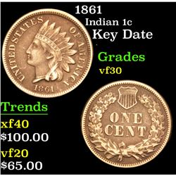 1861 Key Date . Indian Cent 1c Grades vf++