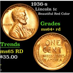 1936-s Beautiful Red color . Lincoln Cent 1c Grades Choice+ Unc RD