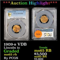 ***Auction Highlight*** PCGS 1909-s VDB . . Lincoln Cent 1c Graded ms65 rb By PCGS (fc)