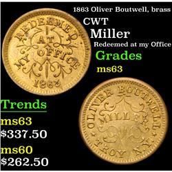 1863 Oliver Boutwell, brass Miller Redeemed at my Office Civil War Token 1c Grades Select Unc