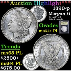 *Auction Highlight* 1890-p Great Proof Like Example Morgan $1 Graded Choice Unc+ PL By USCG (fc)