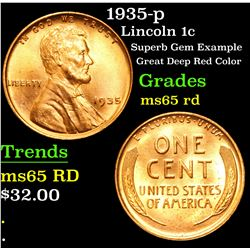 1935-p Superb Gem Example Great Deep Red Color Lincoln Cent 1c Grades GEM Unc RD