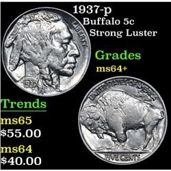 1937-p Strong Luster . Buffalo Nickel 5c Grades Choice+ Unc