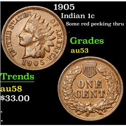 1905 Some red peeking thru . Indian Cent 1c Grades Select AU